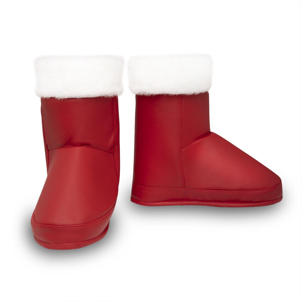 Накладки на взуття Чоботи Діда Мороза червоні з золотом